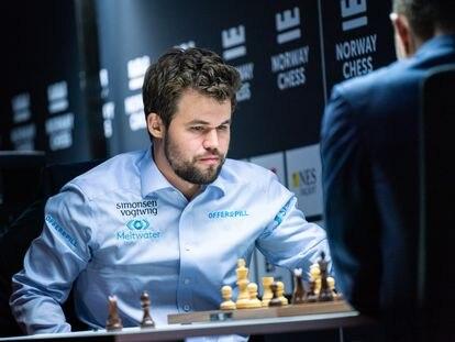 Magnus Carlsen, durante su partida de hoy contra Kariakin
