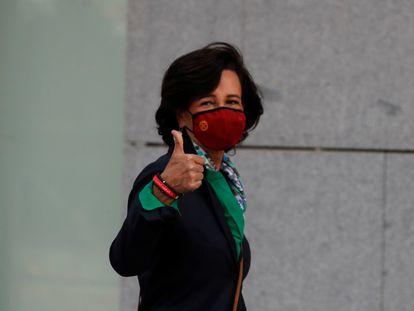 La presidenta del Banco Santander, Ana Botín, a su llegada este jueves a la Audiencia Nacional.
