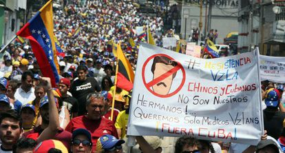 Manifestación contra el Gobierno de Maduro en San Cristóbal.