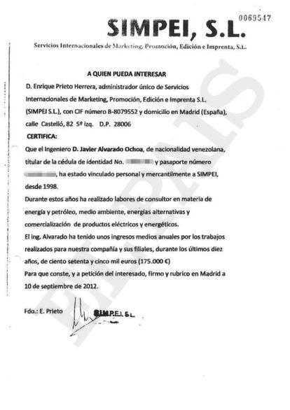 Documento en el que el administrador único de la editorial SIMPEI S. L., Enrique Prieto Herrera, reconoce los pagos al exviceministro de Energía de Venezuela Javier Alvarado.