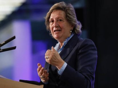 Pilar González de Frutos, presidenta de UNESPA, en un evento reciente.