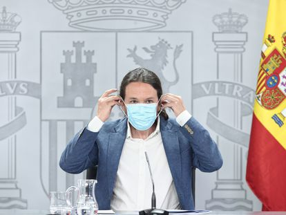 El vicepresidente y ministro de Derechos Sociales y Agenda 2030, Pablo Iglesias, durante la rueda de prensa posterior al Consejo de Ministros.