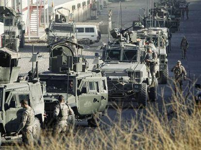 Tropas españolas destacadas en Qala-i-Naw (Afganistán), en octubre de 2012.