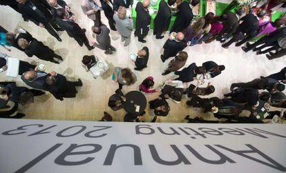 Participantes en el Foro Económico Mundial en Davos (Suiza).