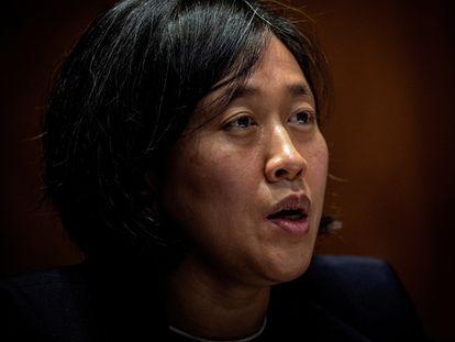 La representante comercial de EE UU, Katherine Tai, comparece ante un comité del Senado, el pasado mes de abril.