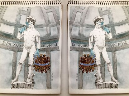 """Composición sobre la imagen de """"David y Goliat"""". El mundo al revés. Día 9."""