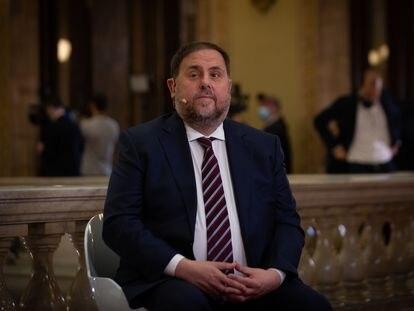 El líder de ERC, Oriol Junqueras, durante una entrevista en directo para TV3.