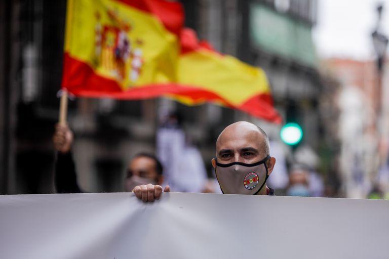 Manifestación por el aumento de las retribuciones de los militares celebrada este sábado por el centro de Madrid.