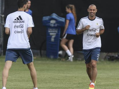 Mascherano, durante un entrenamiento con Argentina en San José, California.