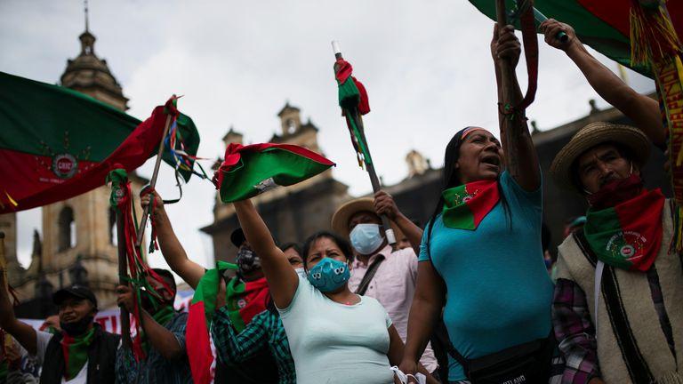 La protesta de este miércoles en Bogotá.