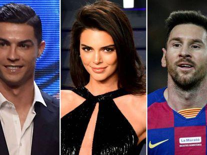 Cristiano Ronaldo, Kendall Jenner y Lionel Messi.