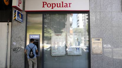 Una oficina bancaria del Banco Popular, en Madrid.