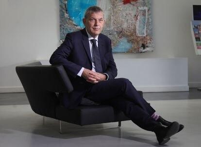 Philippe Lazzarini, comisionado general de la UNRWA para Palestina, en un hotel madrileño, el miércoles tras la entrevista.