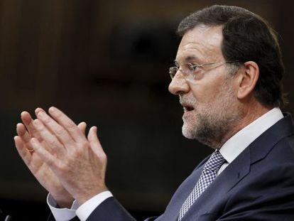 El presidente del Gobierno, Mariano Rajoy, durante su comparecencia ayer ante el pleno del Congreso.