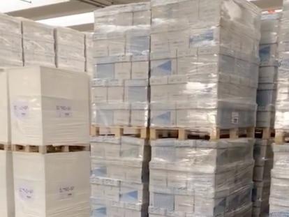 Imagen del vídeo falso sobre material sanitario distribuido en redes sociales que ha denunciado Unidas Podemos.
