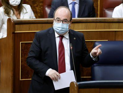 Miquel Iceta, durante la sesión de control al Gobierno el pasado miércoles en el Congreso.