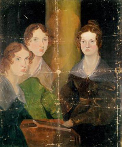 Retrato de las tres hermanas Brontë (Emily en el centro) realizado por su hermano, Branwell.