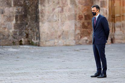 El presidente del Gobierno, Pedro Sánchez,  este viernes el monasterio de San Millán de Yuso, en San Millán de la Cogolla.