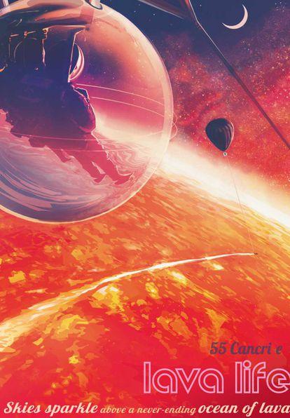 Poster promocional de la NASA sobre un hipotético viaje a los océanos de lava del exoplaneta 55 Cancri e.