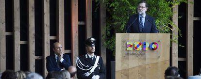 Mariano Rajoy, este lunes, en la Expo de Milán.