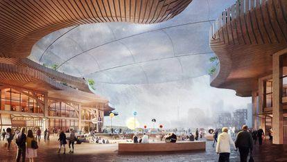 Las propuestas del estudio de arquitectura de Thomas Heatherwick incluyen un diseño para las la sede de Google en Canadá, en el barrio de Villiers West, dentro del distrito IDEA. |