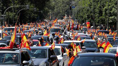 Manifestación convocada por Vox en Madrid, el 23 de mayo de 2020, contra las medidas del Gobierno para frenar la pandemia.