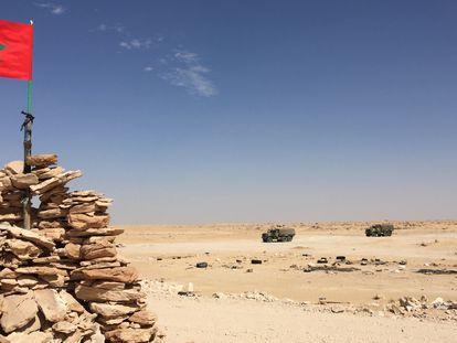 Bandera de Marruecos en el Guerguerat, de donde fue expulsado el Frente Polisario.