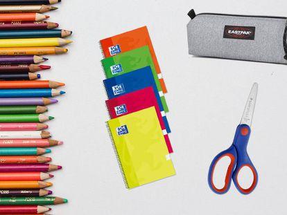 Los cuadernos, estuches, tijeras y lápices de colores son algunos de los materiales escolares imprescindibles.