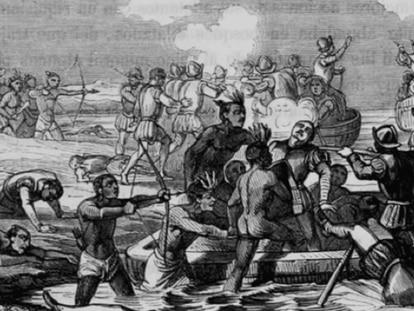 Litografía de la Batalla de Champotón de 1517.