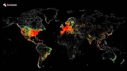 Mapa de los dispositivos conectados a Internet.