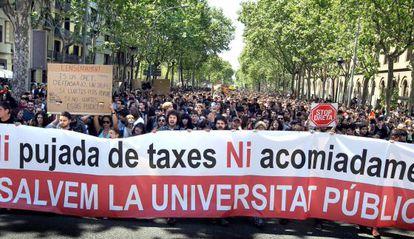 Manifestación de estudiantes universitarios en contra del aumento de las tasas en 2012