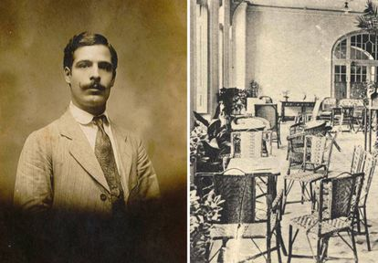 A la izquierda, José Pons Pedro en Argentina. A la derecha, el hall de la planta baja del Gran Hotel de Caldas de Oviedo en los años treinta con muebles de Point 1920.  