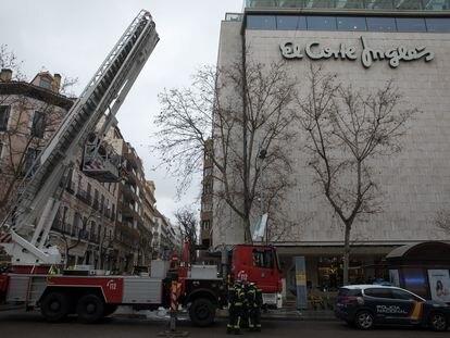 Incendio en el Corte Inglés de la calle de Serrano.