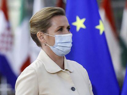 La primera ministra danesa, Mette Frederiksen, durante una cumbre de la UE en Bruselas el 24 de mayo de 2021.
