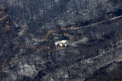 Una vivienda en medio de un monte quemado en Sierra Bermeja, este sábado.