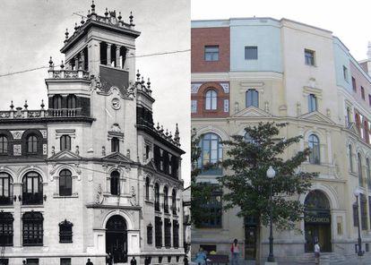 A la izquierda, el Palacio de Correos y Telégrafos de estilo neoplateresco proyectado por Jerónimo Arroyo en 1922. A la derecha, la reforma de los años sesenta en la que se añadió un cuarto piso y se quiso dar sobriedad al edificio.