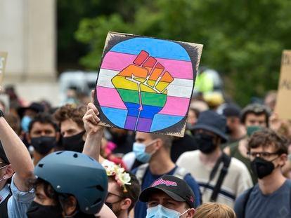 Manifestación de Black 'Trans' Lives Matters, en Londres, el 27 de junio de 2020.