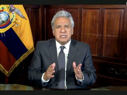 El presidente de Ecuador, Lenín Moreno, en un mensaje grabado el 23 de septiembre.