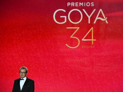 Mariano Barroso, director de la Academia de Cine, durante su discurso en la última ceremonia de los Goya, en Málaga.
