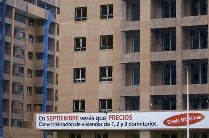 Vista de unos edificios de viviendas en construcción en Madrid.