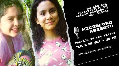 Convocatoria a una marcha por Lilian Mariana y María del Carmen, a un año de su muerte en manos del Ejército paraguayo.