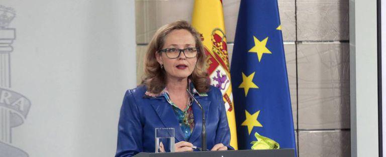 La vicepresidenta económica de España, Nadia Calviño, en La Moncloa.