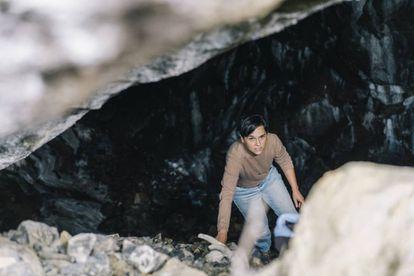 Mertxe Urteaga en el coto minero de Arditurri, donde demostró con sus colegas que los romanos abrieron grandes minas en la zona.