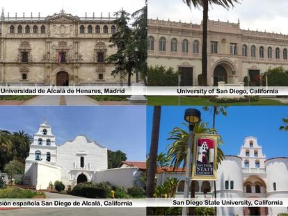 Fotografías de edificios españoles y californianos que aparecen en el tuit de la Embajada de Estados Unidos en España.