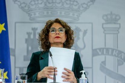 María Jesús Montero, ministra portavoz del Gobierno, este martes en la rueda de prensa posterior al Consejo de Ministros.
