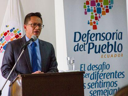 El titular de la Defensoría del Pueblo, Freddy Carrión, en 2019.