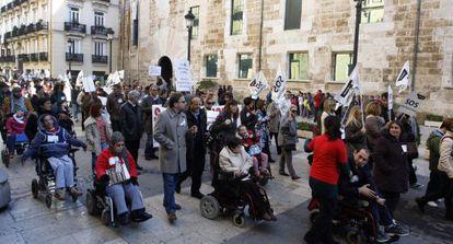 Imagen de una protesta de discapacitados realizada el pasado día 2 en Valencia.