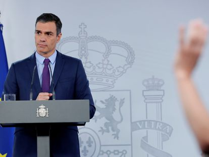 El presidente del Gobierno, Pedro Sánchez, comparece este martes en La Moncloa para hacer balance del Ejecutivo de coalición .