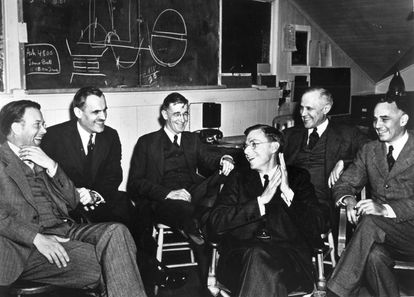 A group of American scientists in Berkeley, California, including engineer Vannevar Bush (third from left), on March 29, 1940.