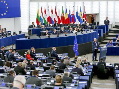 El presidente de la Comisión Europea, Jean-Claude Juncker, durante el debate del estado de la Unión en septiembre, en Estrasburgo.